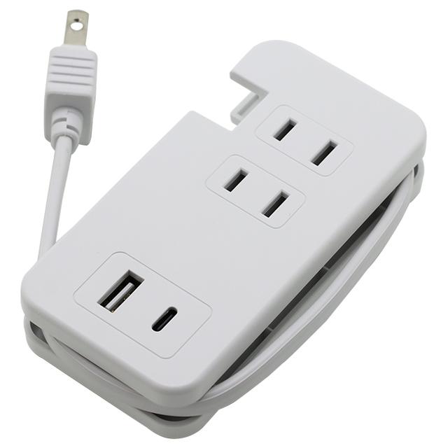 USBポート付きモバイルタップType-C×1/Type-A×1/AC×3